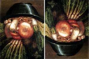 Testa reversibile ortolano, ciotola con verdure