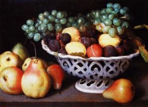 Cesto in ceramica con uva, prugne e pere XVII secolo