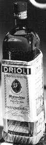 L'originale bottiglia di maraschino Drioli