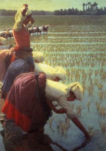 """""""In risaia"""" (1901) di Angelo Morbelli."""